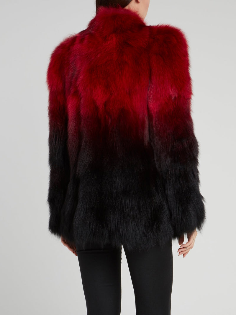 Red Shaggy Fur Jacket