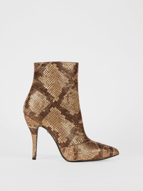 Snake-Pattern Ankle Boots
