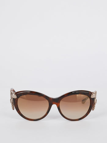 Tortoiseshell Cat Eye Snake Detail Sunglasses