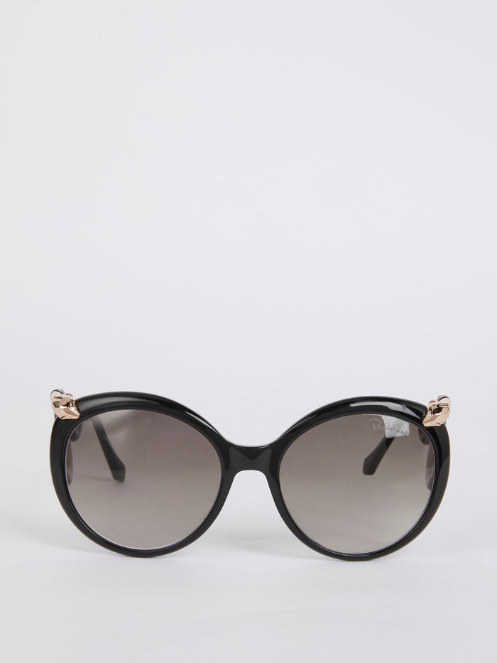 Acetate Round Snake Detail Sunglasses