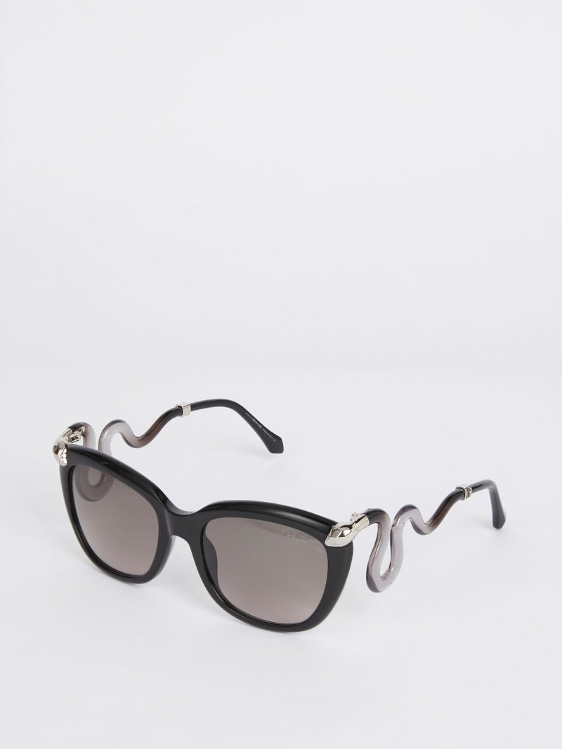 Acetate Square Snake Detail Sunglasses