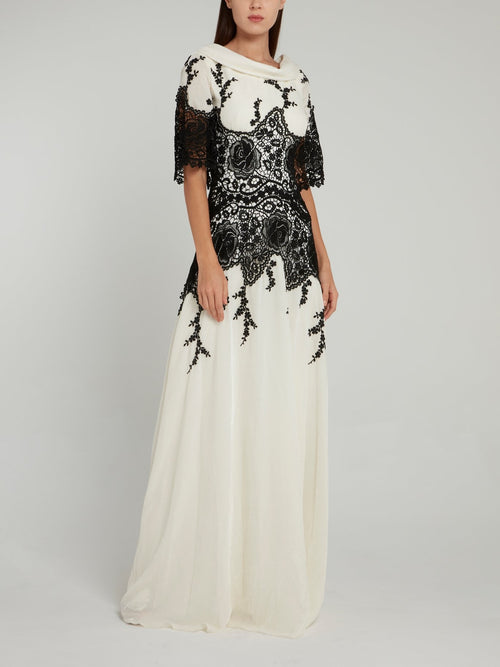 White Lace Overlay Maxi Dress
