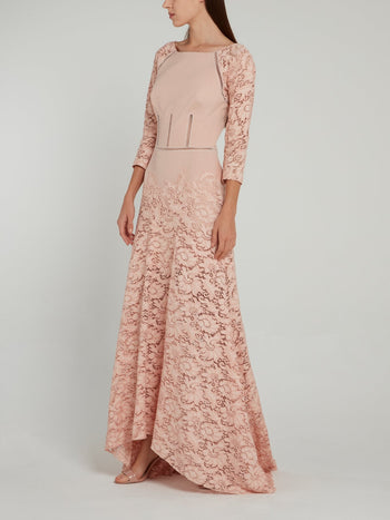 Pink Lace Raglan Maxi Dress