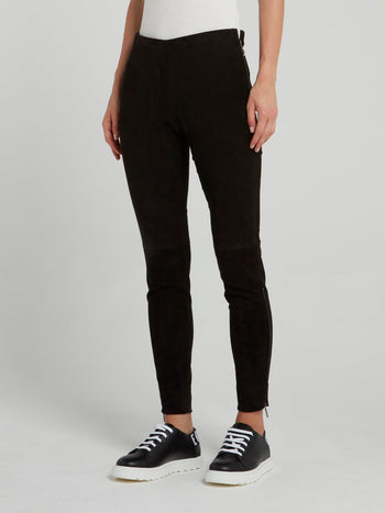 Black Signature Suede Leggings