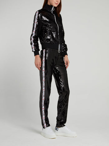Black Sequin Waistband Pants