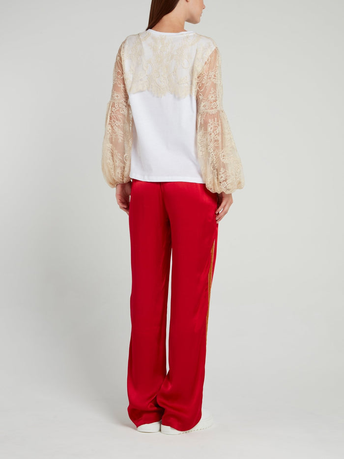 Darling Lace Overlay Embroidered Shirt