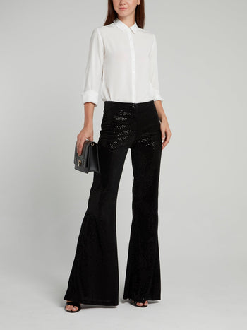 Black Perforated Flared Trousers