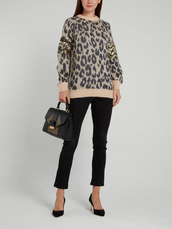 Leopard Print Sequin Panel Pullover