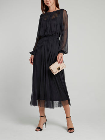 Black Signature Tulle Midi Dress