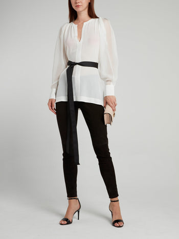 White Mesh Sleeve Top with Belt