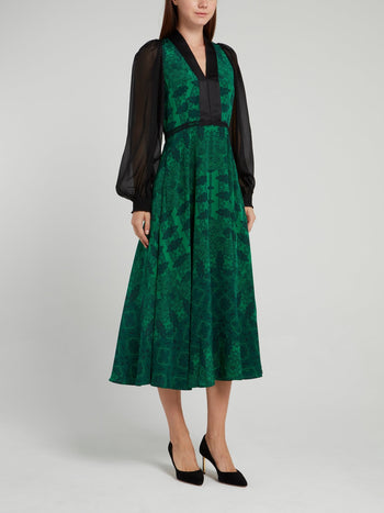 Green Printed Paisley Midi Dress