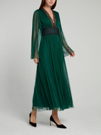 Green Lace Panel Tulle Midi Dress