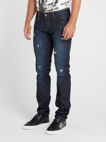 Navy Distressed Slim Fit Trousers