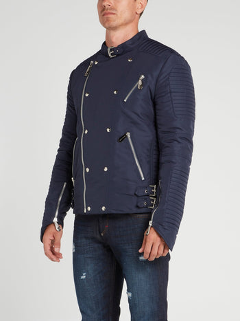 Navy Nylon Biker Jacket