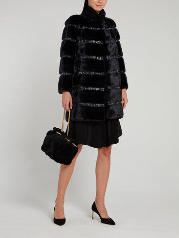 Black Tweed Striped Fur Coat