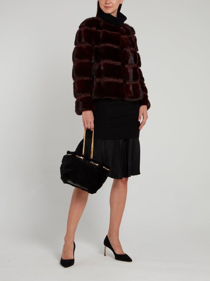 Burgundy Tweed Striped Fur Coat
