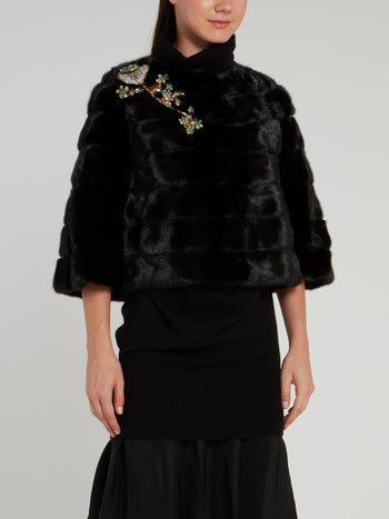 Black Embellished Mink Jacket