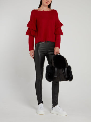 Red Frayed Cashmere Pullover