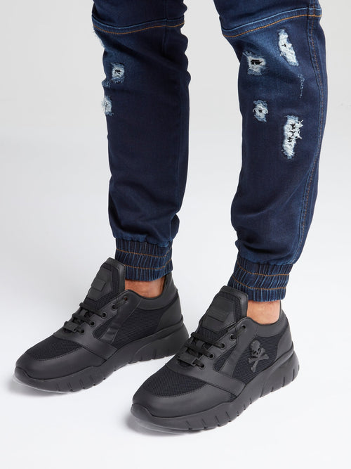 Black Chunky Skull Sneakers