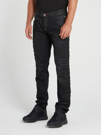 Black Logo Embroidered Jeans