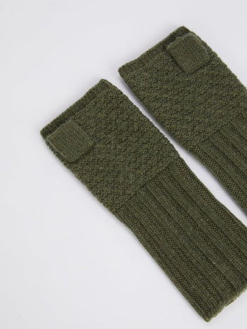 Olive Merino Knitted Mittens