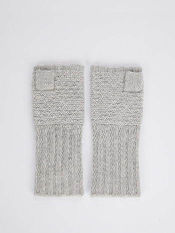 Grey Merino Knitted Mittens