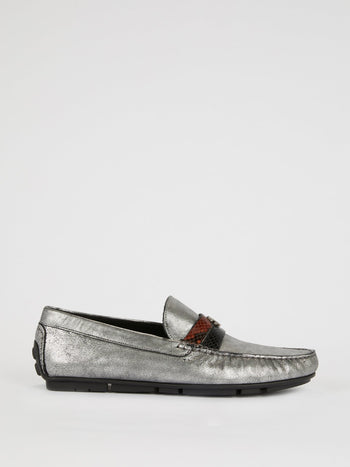 Silver Snake Skin Panel Loafers