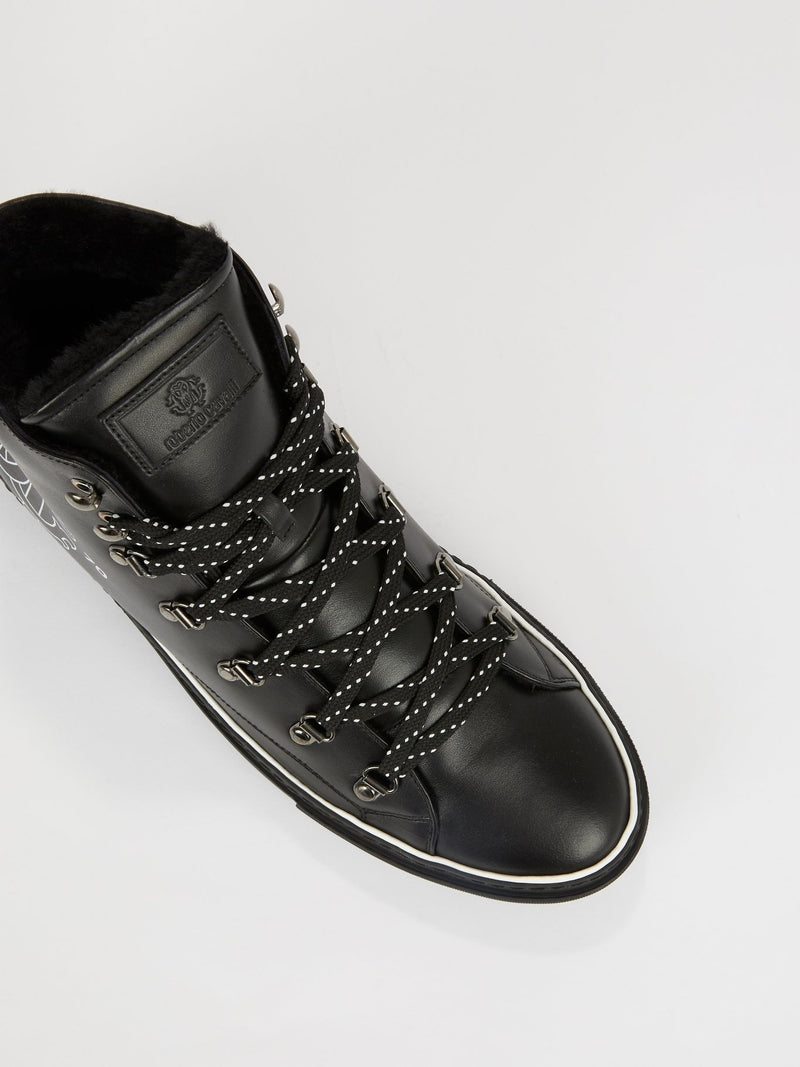 Black Logo High Top Sneakers