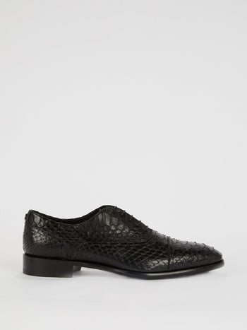 Black Snake Effect Leather Shoes