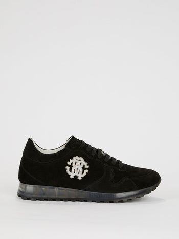 Black Logo Appliquéd Suede Sneakers