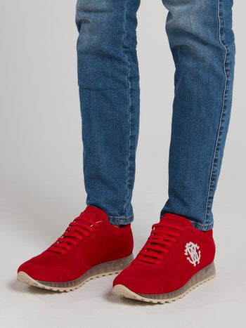 Red Monogram Appliquéd Suede Sneakers