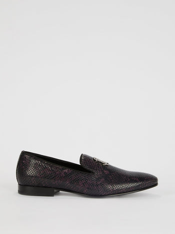 Burgundy Snake-Effect Leather Loafers