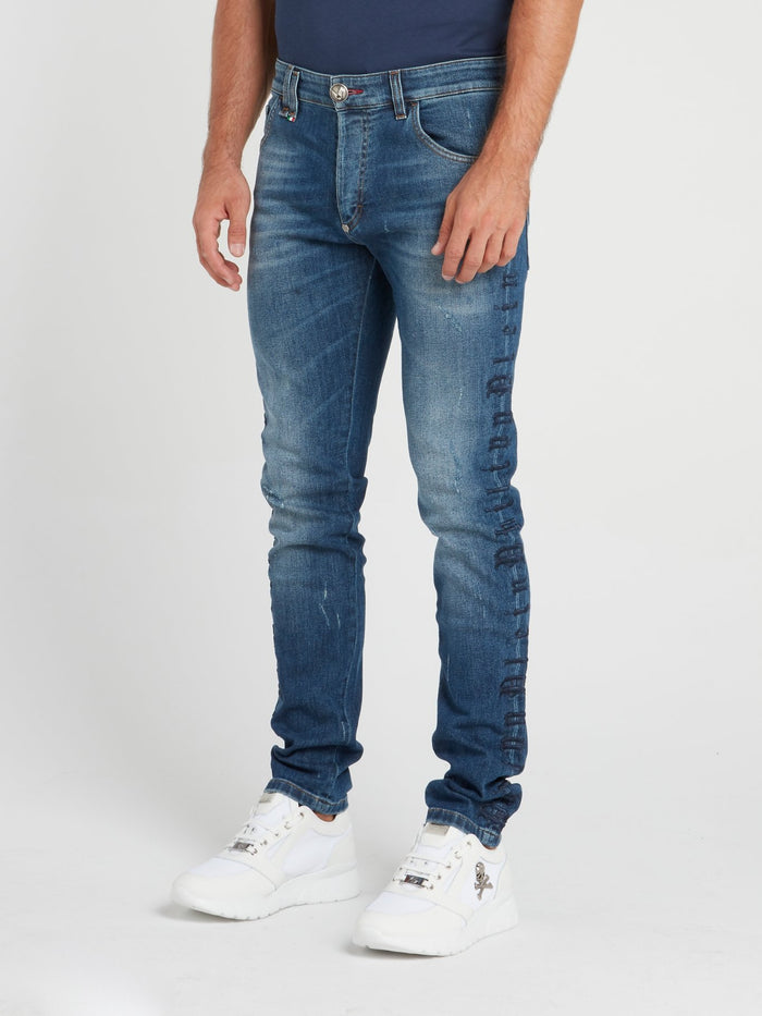 Blue Logo Embroidered Jeans