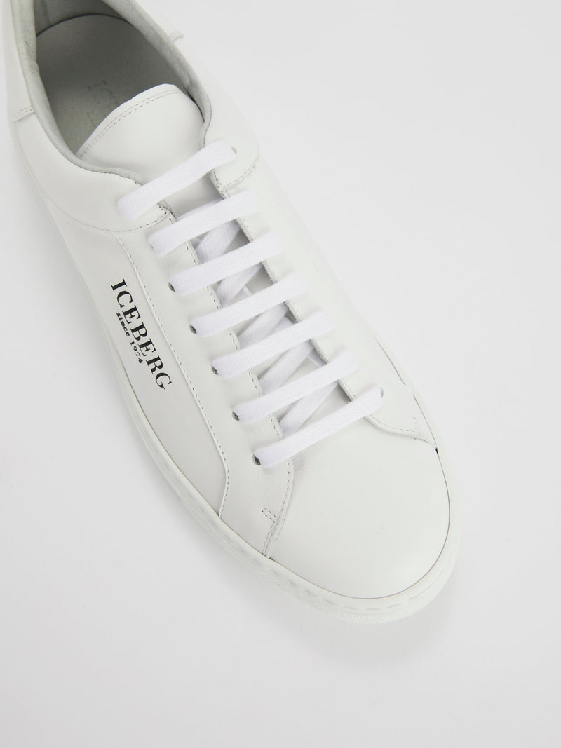 White Classic Logo Leather Sneakers