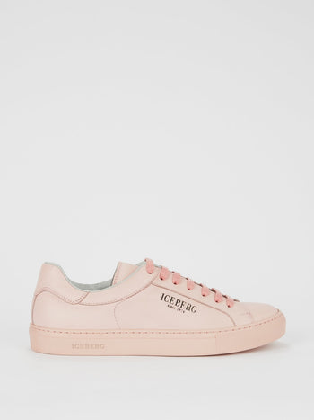 Pink Classic Logo Leather Sneakers