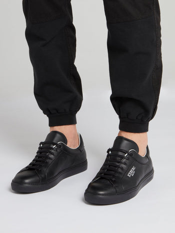 Black Classic Logo Leather Sneakers