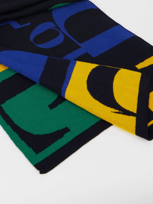 Navy Colour Block Logo Knitted Scarf