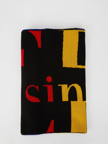 Black Colour Block Logo Knitted Scarf