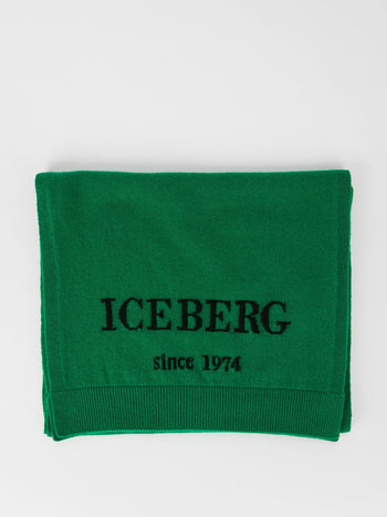 Green Logo Cashmere Knitted Scarf