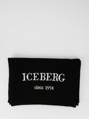 Black Logo Cashmere Knitted Scarf