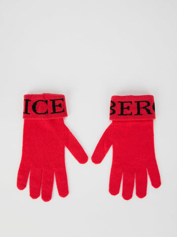 Red Logo Knitted Gloves