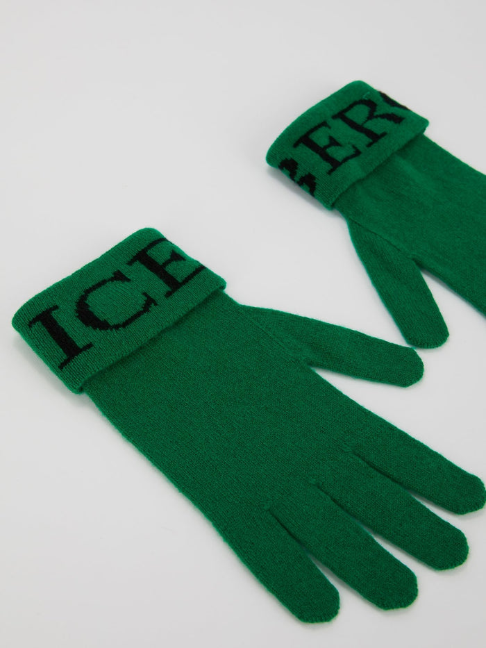 Green Logo Knitted Gloves