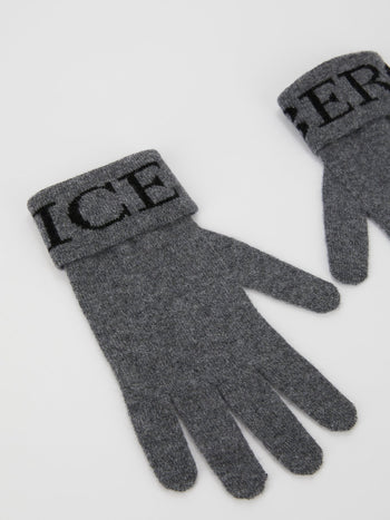 Grey Logo Knitted Gloves