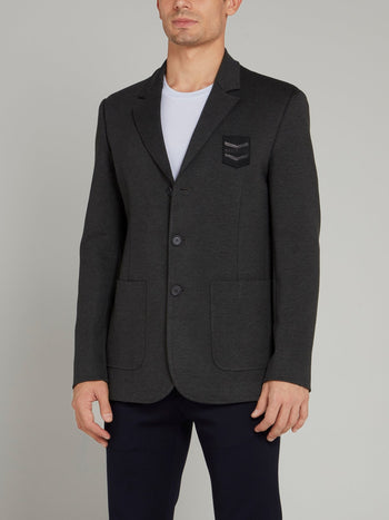 Grey Logo Appliquéd Blazer