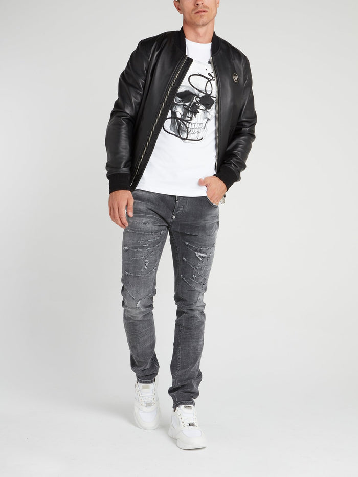 Rear Skull Leather Bomber Jacket