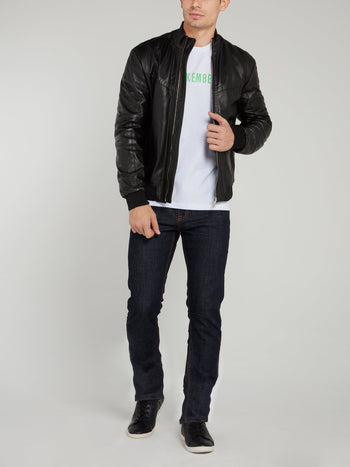 Black High Neck Leather Jacket