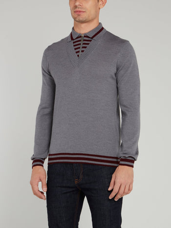 Grey Zip Neck Stripe Edge Sweater