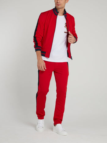 Red Stripe Trim Sweatshirt