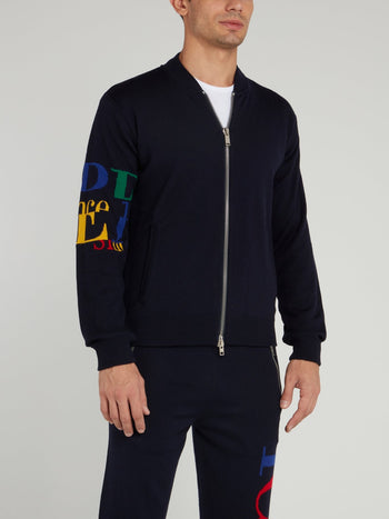 Navy Zip Up Knitted Blouson