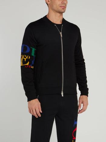 Black Zip Up Knitted Blouson